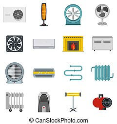 Heating cooling air icons set in flat style isolated...