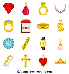 Jewelry items icons set in flat style isolated  illustration