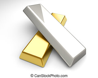 Gold and Silver - 3D rendered Illustration.