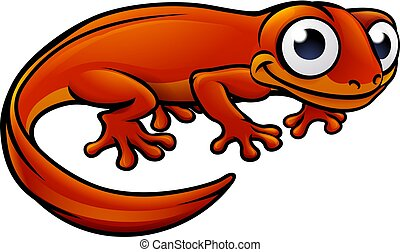 Newt or Salamander Cartoon Character - An illustration of a...