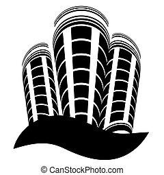 High-rise building logo, vector art illustration.