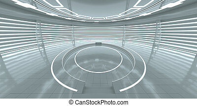 Futuristic interior with empty glowing podium