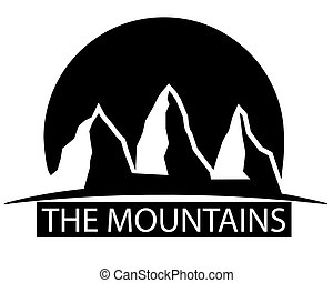Black and white mountains, vector art illustration.