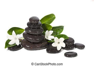 Spa still life with black stones