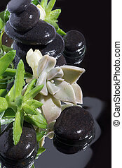 Spa still life with black stones