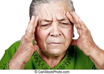 antigas, Sênior, mulher, tendo, enxaqueca, ou, dor de...