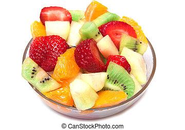 fresco, fruta, ensalada, tazón