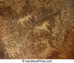 Petroglyphs on rock in national monument AK Baur in Eastern...