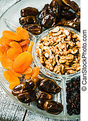 Composition with assorted dried fruits and nuts. Healthy...