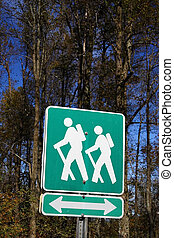 Appalachian Trail - Hiking Trail sign next to the ,...