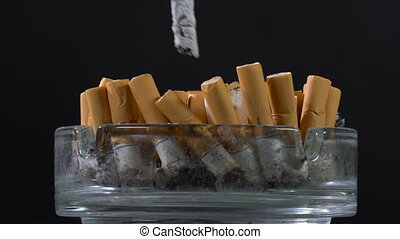 Extinguish a cigarette in an ashtray - Extinguish a...