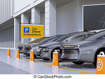 Fleet of autonomous vehicles in parking lot for sharing