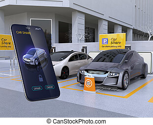 Car share parking lot and smartphone app for sharing