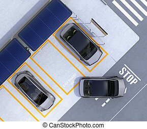 Aerial view of parking lot for car sharing business....