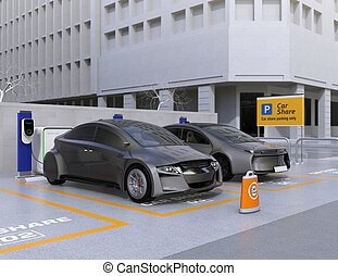 Autonomous vehicles in parking lot for sharing