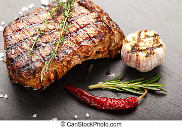 Cooked steak marble meat - Cooked steak marble grilled meat...