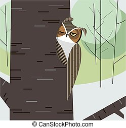 Owl dozes in the hollow of a tree trunk on a background of...