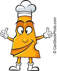 Cartoon cheese-cook on the white background.