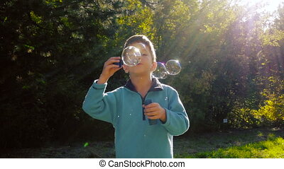 Little boy blowing up the soap bubbles in autumn forest -...