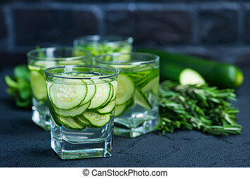 drink with cucumber - cucumber drink in glasses and on a...