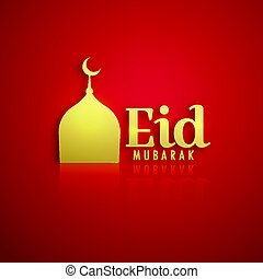 golden mosque on red background for eid festival