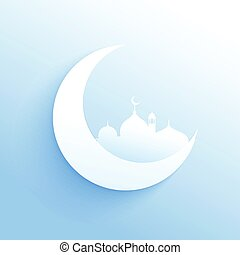 moon with mosque silhouette clean background for islamic...