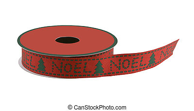 red and green noel ribbon on a spool isolated