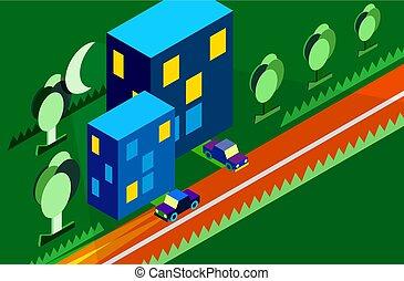 isometric city car tree night moon green vector
