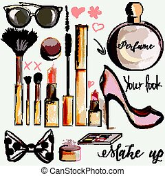 Fashion set of vector make up accesories lipstick mascara perfume brushes in watercolor style.eps