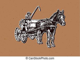 carruaje,  vector, abierto, Ilustración