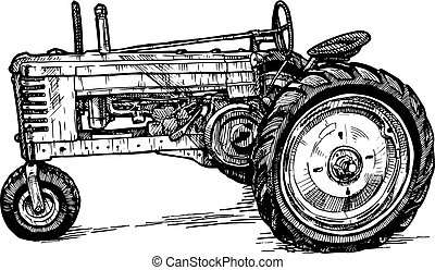 Vector drawing of tractor stylized as engraving - Vector...
