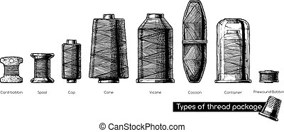 Various forms of thread package - Vector black-and-white...