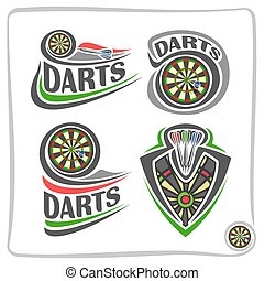 Vector set icons for Darts game: thrown arrow in bullseye of...