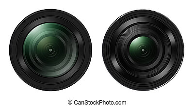 Front view of Two DSLR camera lens isolated on white...