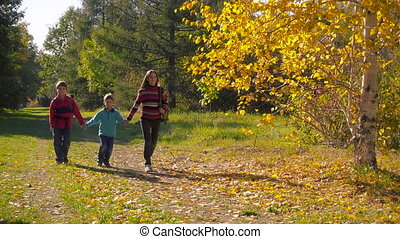 Three happy kids walking together in sunny autumn forest,...