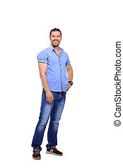Handsome young man smiling full length on white background -...