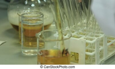 Laboratory glassware for chemical processes. Chemical test...