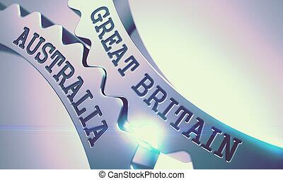 Great Britain Australia - Mechanism of Metallic Gears. 3D. -...