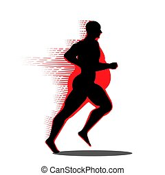 Fat man turning into Thin designed on red background graphic