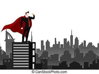 Businessman superhero over city background.