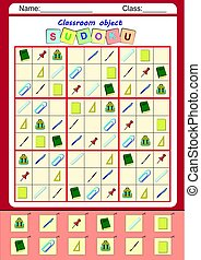 Funny picture sudoku for kids, colorful worksheet