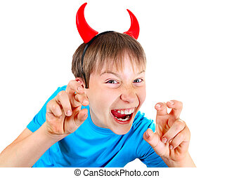 Kid with Devil Horns - Sly Boy with Devil Horns Isolated on...