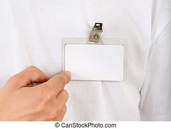 Person show his Badge - Person shows Blank Badge on the...
