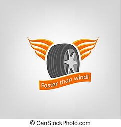 Tire Shop Logo - Car tire icon with wings in grey and orange...