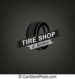Tire Shop Logo - Car tire icon in grey colours useful for...