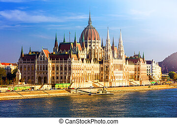 Landmarks of Europe - Budpaest, view of Parliament over...