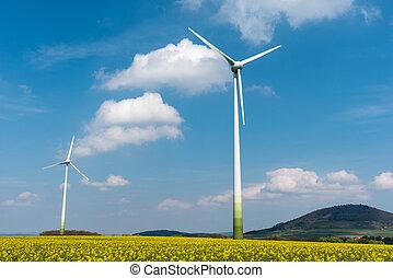 Windmills in a rapeseed field seen in Germany