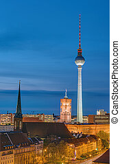 Television Tower and townhall at night - Television Tower...