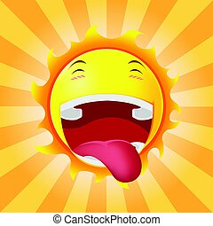 Sun Face Happy Cartoon Emotion Vector