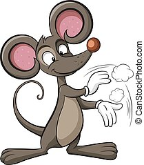 Cute mouse. Cleaning illustration. Rat applause.